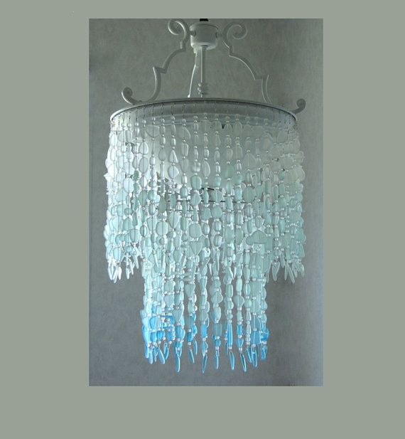Sea glass Ombre Chandelier - Coastal Chandeliers and Pendants