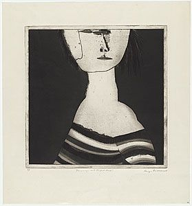 George BALDESSIN, Personage with striped dress. 1969, etching