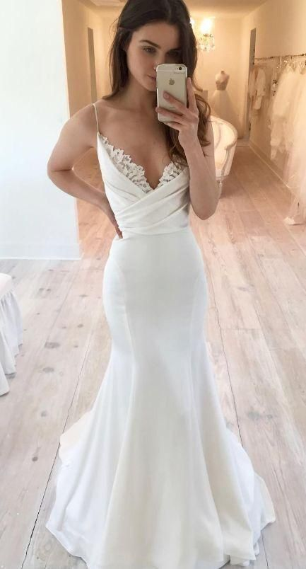 Charming V neck Straps White Long Prom Dress, Mermaid Prom Dresses