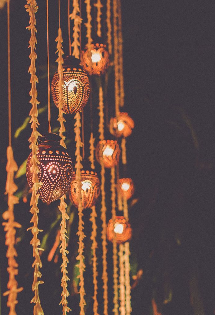 coconut lamps and hanging lillies