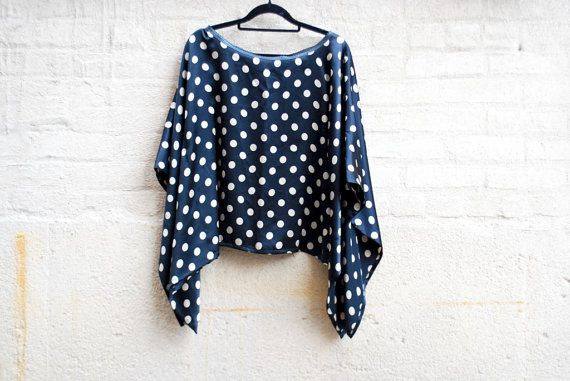Designer retro inspired top  Polka dot silk top  by LALcouture, $55.00
