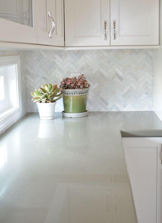Best White Cabinets With Marble Herringbone Backsplash And Sage 400 x 300