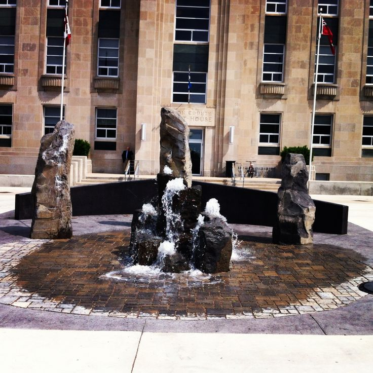 Water Feature in front of the Courthouse in downtown Goderich, Ontario, Canada