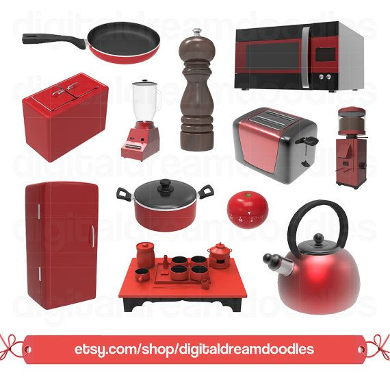 Kitchen Clipart, Kitchen Clip Art, Cooking Graphic, Applicance Image, Asian Tea Set, Retro Fridge, Ice Box, Tomato Timer, Digital Download