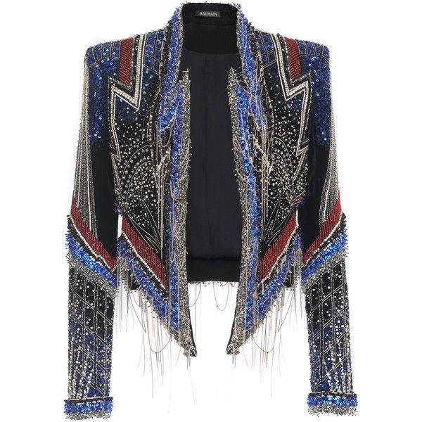 Moda Operandi (84.280 RON) ❤ liked on Polyvore featuring outerwear, jackets, balmain, embroidered jacket, sequin jacket, embroidery jackets and beaded jacket
