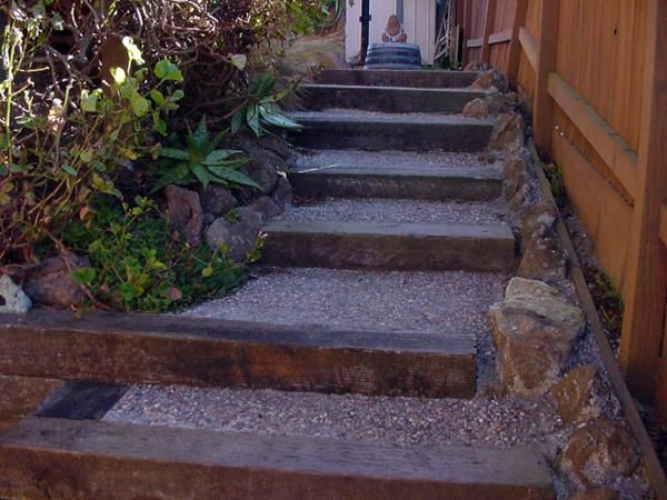 Railroad Ties As Steps Down A Hill.