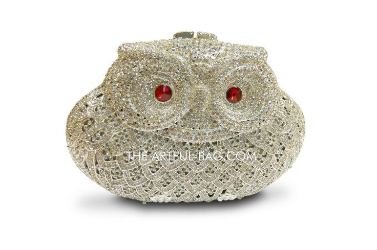 #owl #crystal clutch bag from #theartfulbag #redeyes #animal #novelty #purse #fashion