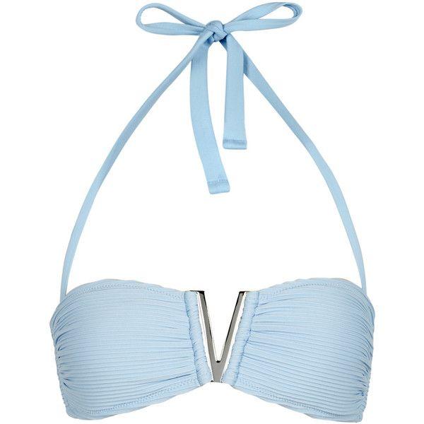 Heidi Klein Hvar Light Blue Ribbed Bikini Top - Size M ($140) ❤ liked on Polyvore featuring swimwear, bikinis, bikini tops, scrunch bikini, swimsuit tops, ribbed halter top, halter tankini tops and halter bikini