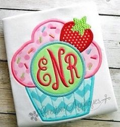 Cupcake Monogram Applique - 4 Sizes! | What's New | Machine Embroidery Designs | SWAKembroidery.com Creative Appliques