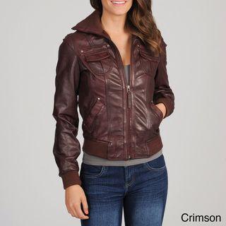 Whet blu Women's Leather Bomber Jacket | Overstock.com