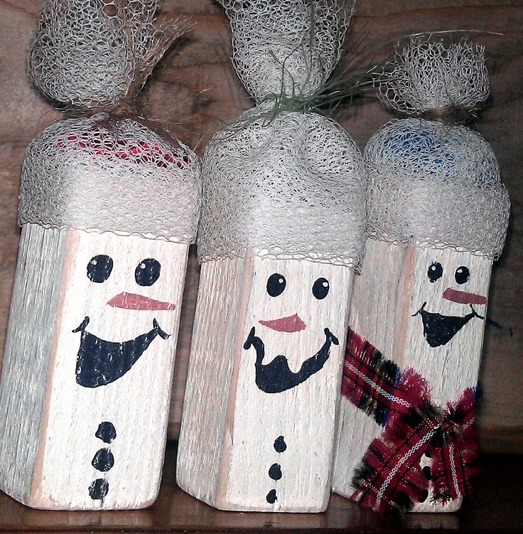 Rustic snowman christmas decoration hand painted for Rustic snowman decor