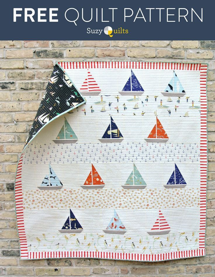 This free sailboat quilt pattern is also available as a pre-made kit!