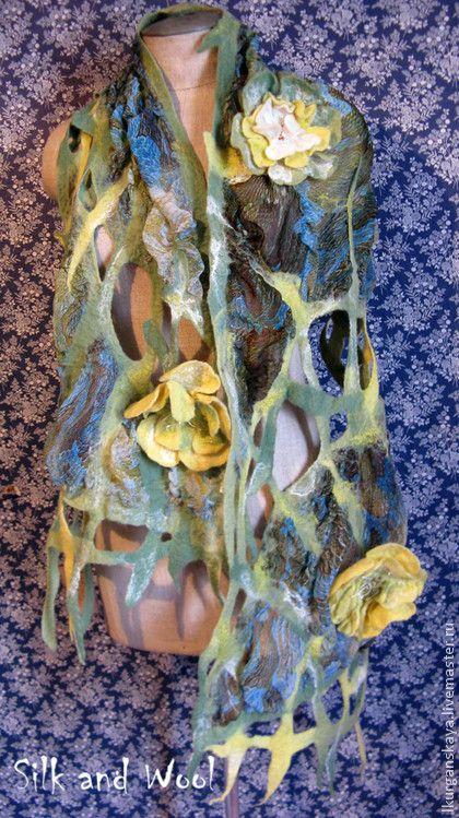 """Шарфы и шарфики ручной работы. Ярмарка Мастеров - ручная работа палантин """" Желтые цветы"""" нуновойлок. Handmade."""