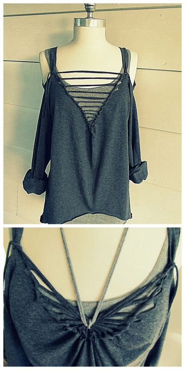 DIY No Sew Off the Shoulder Ladder or Butterfly Tee Tutorial from Wobisobi here. As usual, another really easy and clever tee shirt restyle from Anne. For more no sew tee restyles like this one go here: truebluemeandyou.tumblr.com/tagged/wobisobi or for DIY tees in general go here: truebluemeandyou.tumblr.com/tagged/tee-shirt