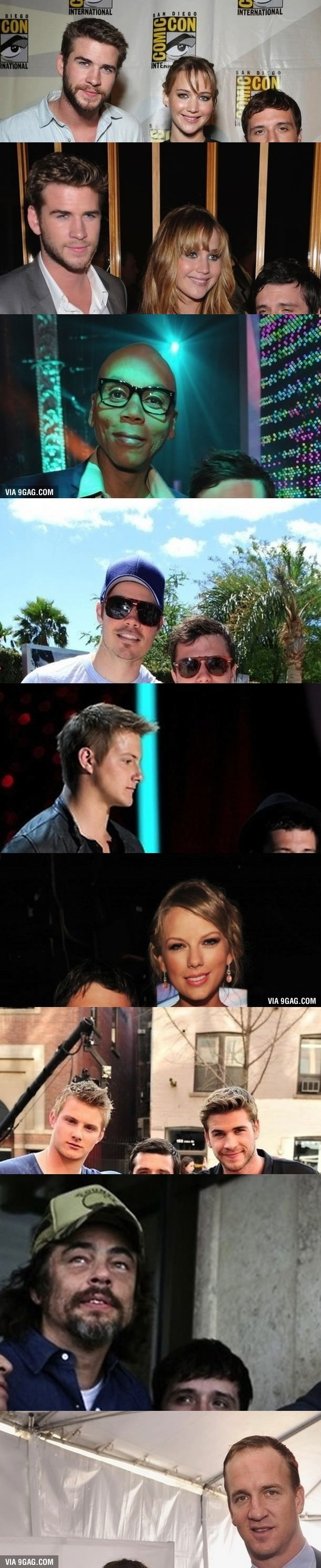 Josh Hutcherson with other celebrities. I'm dying