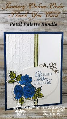 Stampin' Up! Petal Palette Bundle handmade card - Online Order Thank You Card to Customers in January - Create With Christy: January Online Order Thank You Gift & Host Code - Christy Fulk, Independent SU! Demo