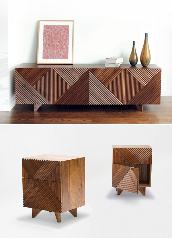 'Enzo' sideboards and side tables in American Walnut, 2011, designed by Rosanna Ceravolo