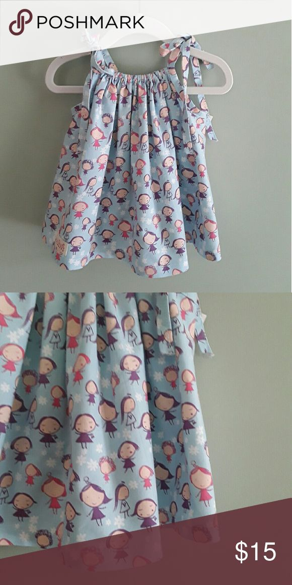 Little girls pillowcase dress size 12mos, 2,  4 Here is an adorable little girls pillowcase dress perfect for those long summer days to keep your little one stylish and cool or looks great with a solid colored long sleeve undershirt and leggings or tights for the winter months it first can be worn as a dress and each year a little smaller until it is just a little top. handmade boutique style new never worn Dresses Casual