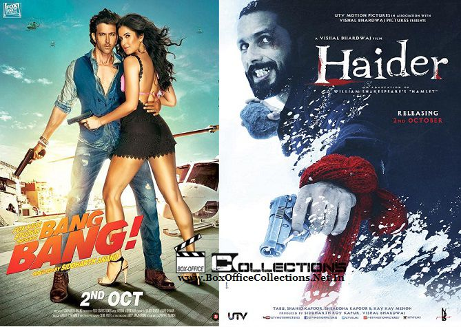 Updated : Bang Bang will be released on 3500 Screens, while Haider will have 1200 Screens | BoxOfficeCollections