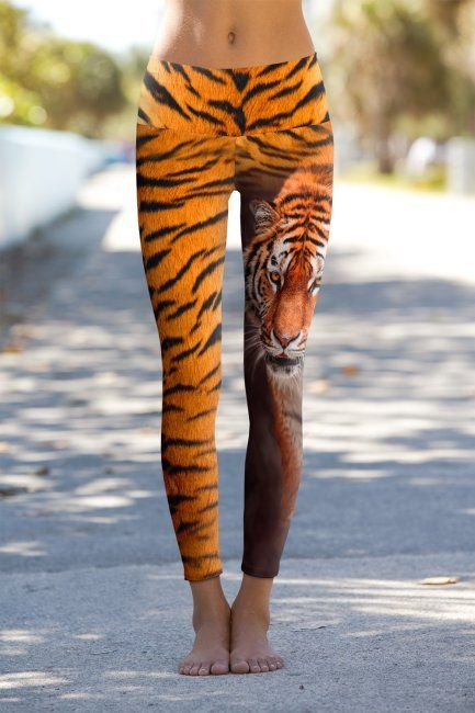 Tiger Half Skin - Printed Performance Leggings | Om Shanti Clothing