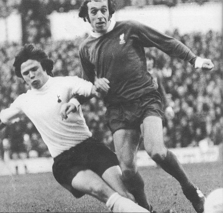 25th November 1972. Tottenham Hotspur midfielder Steve Perryman making a last ditch tackle on Liverpool winger Ian Callaghan, at White Hart Lane.