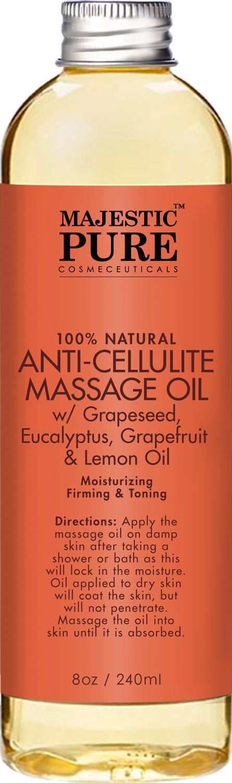 Majestic Pure Anti Cellulite Treatment Massage Massage Oil, Unique Blend of Massage Essential Oils - Improves Skin Firmness, More Effective Than Cellulite Cream, 8 fl oz