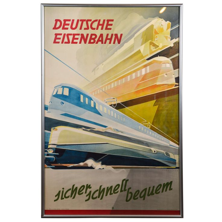 Extreme German Modernist Transportation Poster | From a unique collection of antique and modern posters at https://www.1stdibs.com/furniture/wall-decorations/posters/