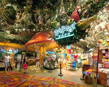 Rain Forest Cafe - I've been to the ones in Nashville TN, Costa Mesa CA, and Orlando FL (Downtown Disney).