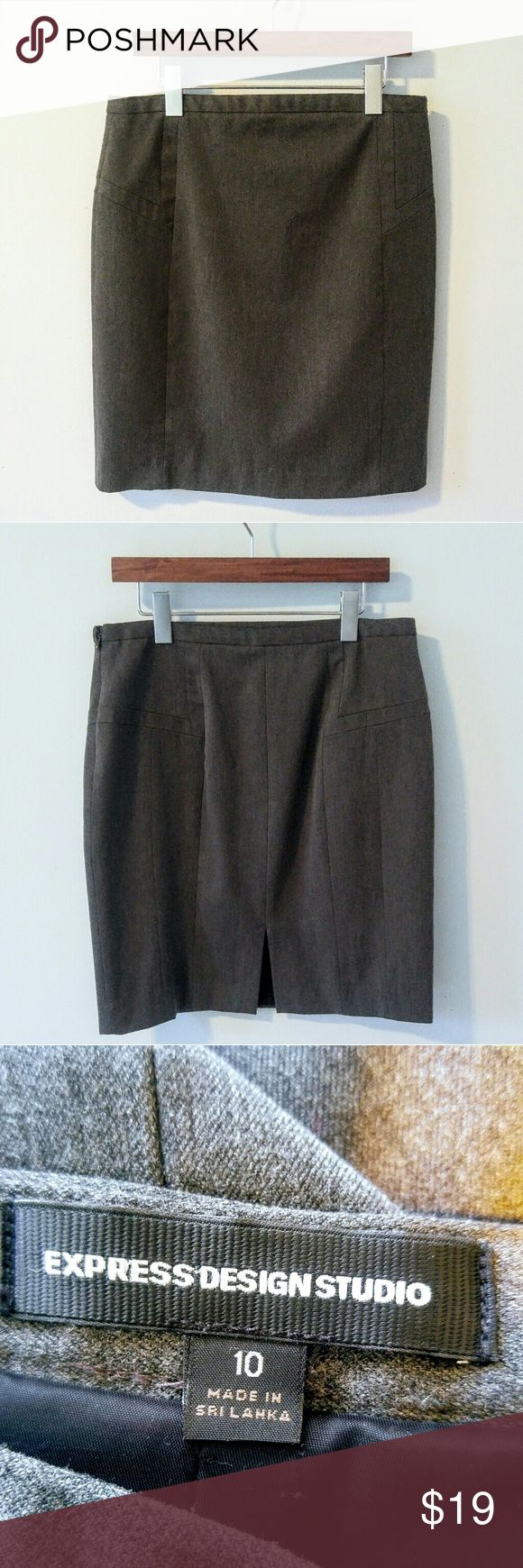 """Express Gray Pencil Skirt size 10 Gently pre-loved Express gray pencil skirt with flattering cut. No holes, stains or flaws.  Apprxomiate measurements: Waist 31"""" Length 21""""   Super fast same day or next business day shipping. Offers always welcomed. Thanks for looking! Express Skirts Pencil"""
