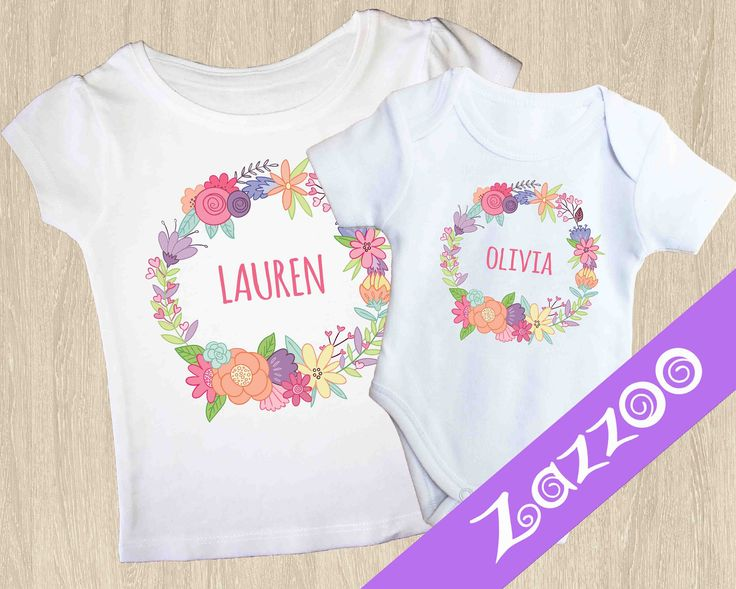 Personalized Onesie or Girls T-shirt, Personalized Bodysuit Romper, Baby shower gift, Customized onesie, Name onesie, Bright Floral Wreath by Zazzoo on Etsy