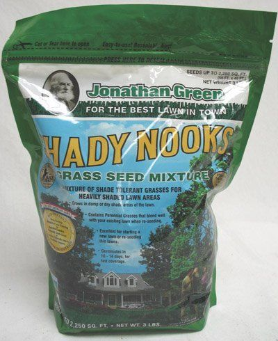 Jonathan Green & Sons, Inc. 3Lb Shady Nooks Seed 11957 Grass Seed by JONATHAN GREEN & SONS, INC.. $13.79. 3 LB, Shady Nooks Grass Seed Mixture, Is Especially Made To Survive In Damp Or Dry Shady Areas, Great Between & Under Extremely Densely Shaded Trees, Contains Pilgrim Poa Trivialis, A Shade Tolerant Grass That Grows Well In Moist Shady Areas.. Save 19% Off!