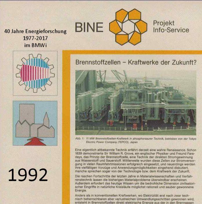 """BINE Projektinfo """"Brennstoffzellen – Kraftwerke der Zukunft"""" von 1992 © BINE Informationsdienst  Heute BINE-Projektinfo """"Brennstoffzelle erzeugt Strom und Wärme fürs Haus"""" (10/2016) #Brennstoffzelle #Strom #Haus #Wärme #Forschung #KWK #Heizgerät"""