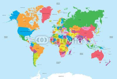 Mapa Polityczna Wektora Swiata Mapy Swiata Mapa Fototapeta