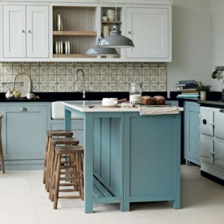 Fitted Kitchen With Central Island In Duck Egg Blue By Fired Earth