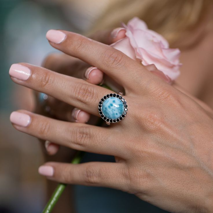 LAURA BONETTI ´Canoa Collection´ - Larimar Ring With Black Stones. Shop it ONLINE at www.larimar.com