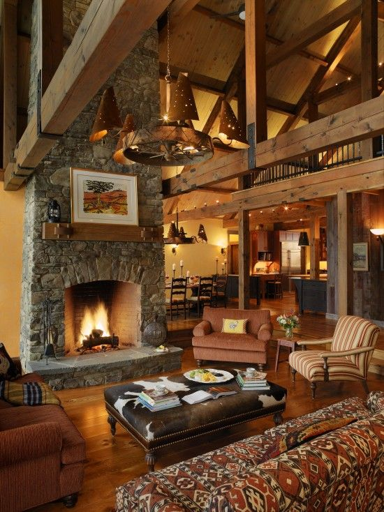 Reminds me of a ski lodge.  I love it.  Cozy yet spacious at the same time!
