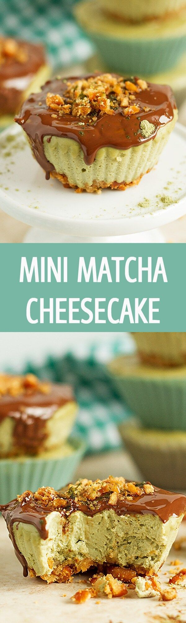 Mini soft matcha cheesecake recipe with crunchy bottom crust and a layer of chocolate. Delicious green tea cheesecake cupcakes are great for any party! by ilonaspassion.com I @ilonaspassion