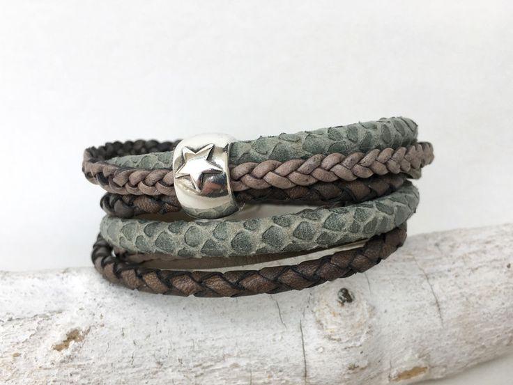 Wickelarmbänder - Wickelarmband Leder braun, grau, taupe - ein Designerstück von moanda bei DaWanda