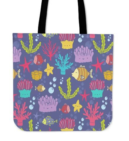 Underwater - Tote Bag. If you love the world undersea you are in the right place. You can´t miss this colorful canvas bag with all your favorite ocean elements.