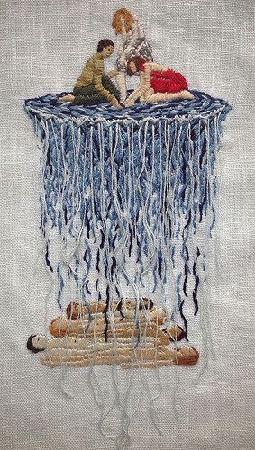 """The depths of the sea are only water after all - 4 x 6"""" embroidery on linen"""