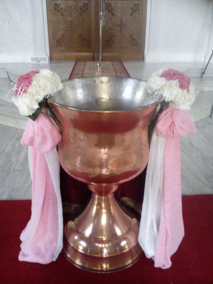 #white#pink#hyndrangea#bouquet for baptismal font