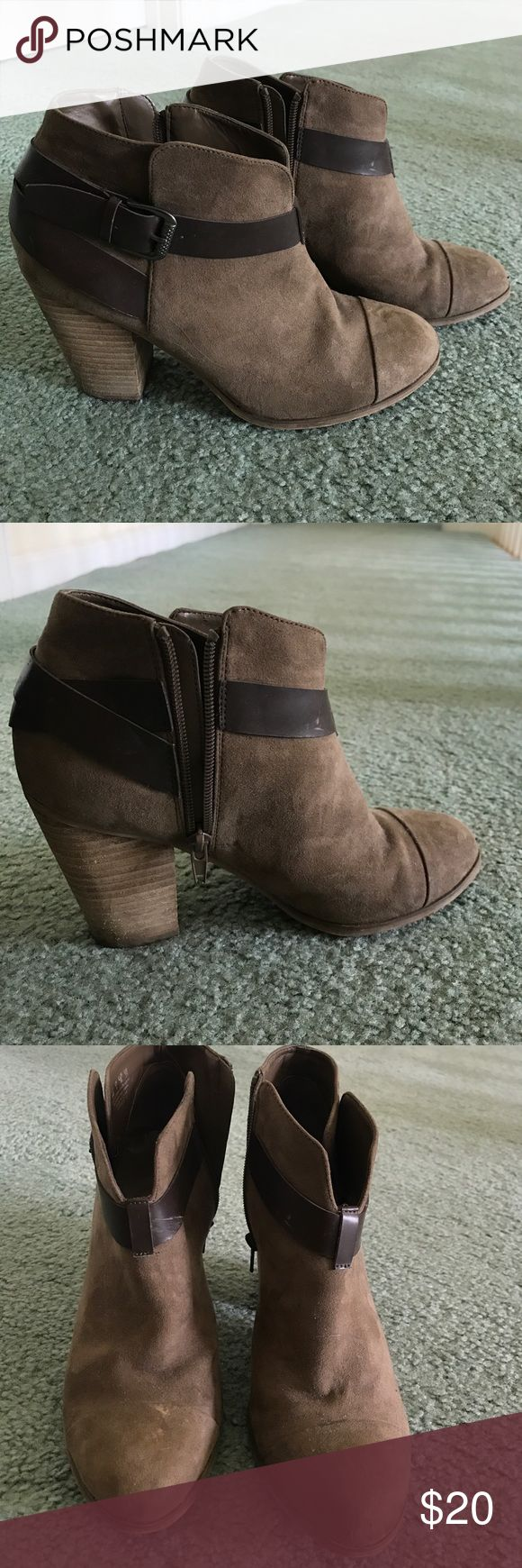 TJ Max Booties TJ Max booties bought in Washington D.C.. Worn once or twice. A few dirt marks but can be easily whipped off. Very comfortable and easy to walk in. Light brown with a darker brown strap TJ Max Shoes Heeled Boots