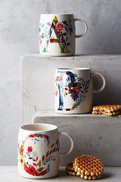 Petal Palette Monogram Mug - anthropologie.com        E please!