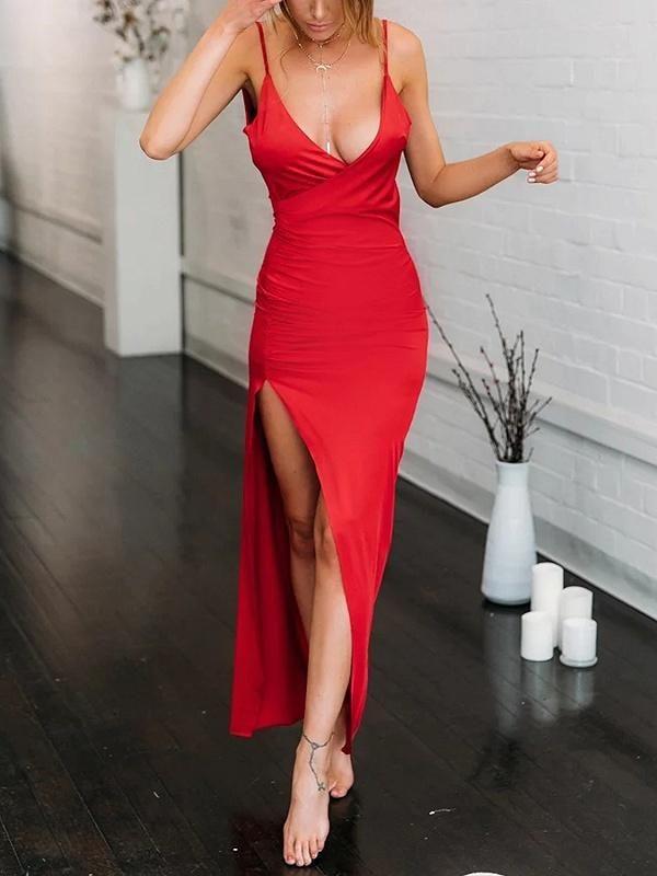 4e0a46e4abdcf1 Red Plunge Open Back Sleeveless Chic Women Bodycon Maxi Dress in ...