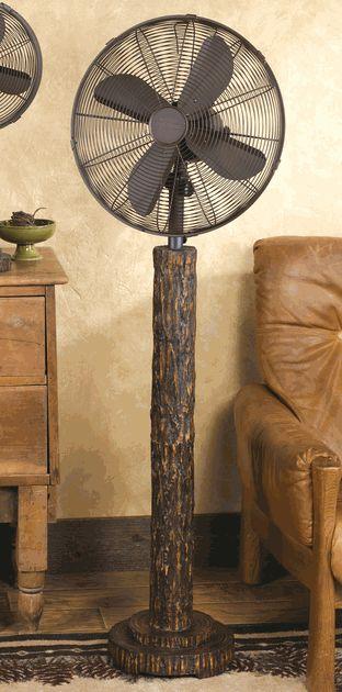 Rustic Tree Bark Floor Standing Fan An actually attractive standing fan.