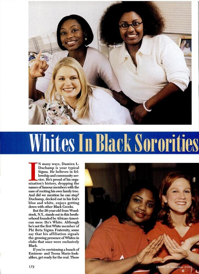 Ebony Magazine explores the appeal many non-African American students find in historically African American fraternities and sororities. Ebony Mag, Dec. 2000