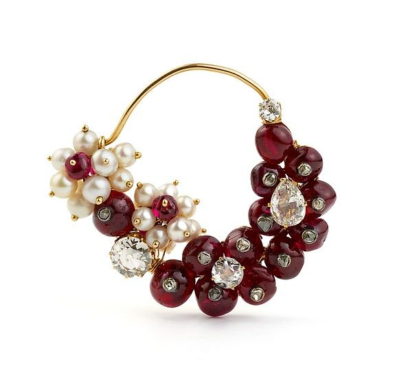 Nose Ring (nath). Object Name: Nose ring. Date: 1925–50. Geography: Western India. Medium: Gold, with diamonds, seed pearls, and rubies.