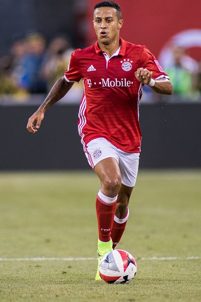 International Champions Cup Bayern Munich Thiago Alcantara in action vs Real Madrid during preseason game at MetLife Stadium East Rutherford NJ...