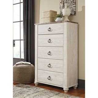 Shop for Signature Design by Ashley Willowton White Five Drawer Chest. Get free shipping at Overstock.com - Your Online Furniture Outlet Store! Get 5% in rewards with Club O!
