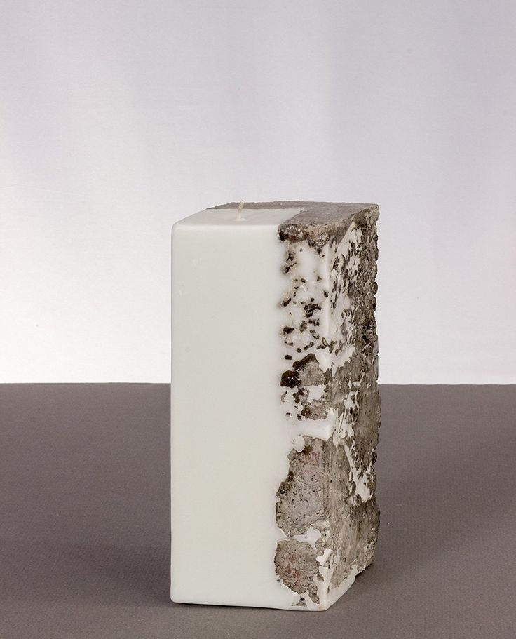 """Family Made Company. Soy Candles. Pillar. Scented. Diamond-shaped. Concrete. """"Bay Breeze"""""""